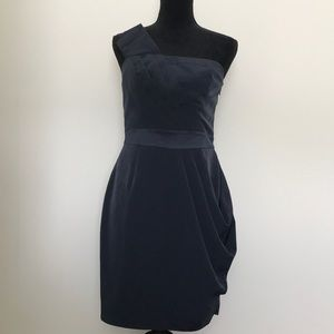 The Limited navy one shoulder cocktail dress